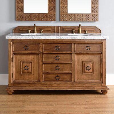Frye 60 Double Cinnamon Bathroom Vanity Set with Drawers