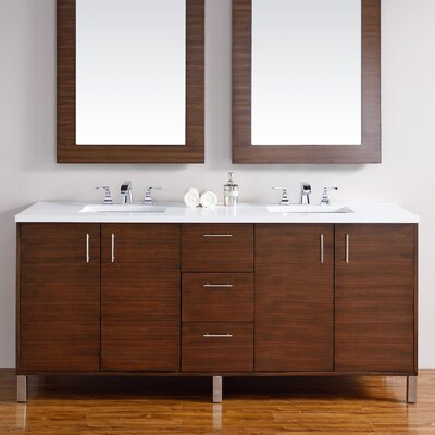 Cordie 72 Double American Walnut Solid Wood Base Bathroom Vanity Set