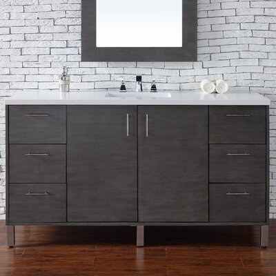 Cordie 60 Single Silver Oak Wood Base Bathroom Vanity Set