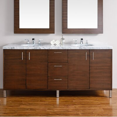 Cordie Modern 72 Double American Walnut Hardwood Base Bathroom Vanity Set