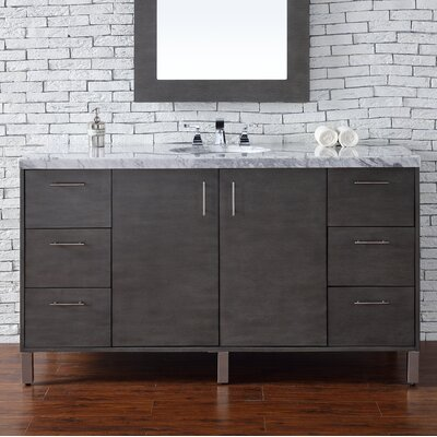 Cordie 60 Single Silver Oak Marble Top Bathroom Vanity Set
