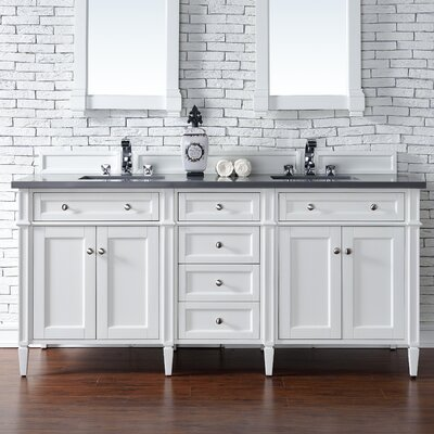 Deleon 72 Double Cottage White Stone Top Bathroom Vanity Set Top Thickness: 4cm
