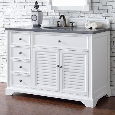 Belfield 48 Single Cottage White Stone Top Bathroom Vanity Set