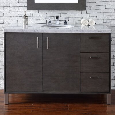Cordie 48 Single Silver Oak Marble Top Bathroom Vanity Set