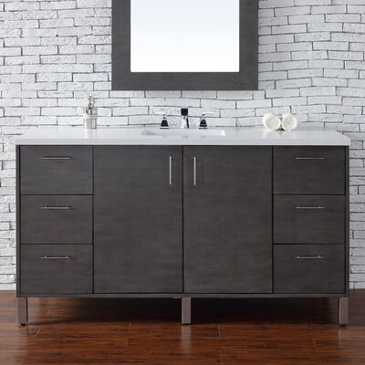 Metropolitan 60 Single Bathroom Vanity Base Base Finish: Silver Oak
