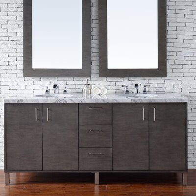 Cordie Modern 72 Double Silver Oak Bathroom Vanity Set