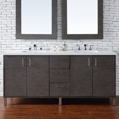 Cordie 72 Double Silver Oak Quartz Top Bathroom Vanity Set