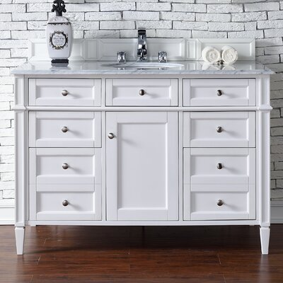 Deleon 48 Single Cottage White Marble Top Bathroom Vanity Set Top Thickness: 4cm