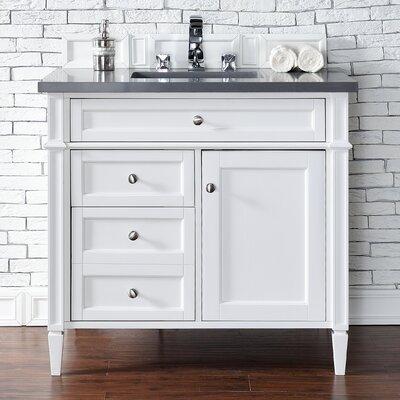 Deleon 36 Single Cottage White Quartz Top Bathroom Vanity Set