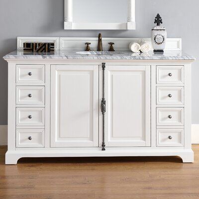 Belhaven 60 Single Cottage White Stone Top Bathroom Vanity Set