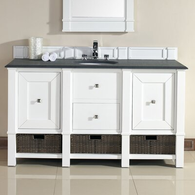 Westminster Traditional 60 Single Cottage White Wood Base Bathroom Vanity Set