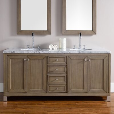 Valladares 72 Double White Washed Walnut Stone Top Bathroom Vanity Set