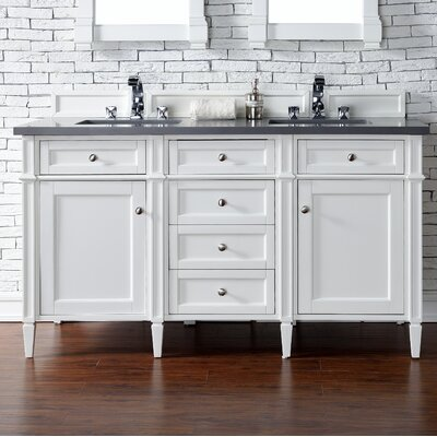 Deleon 60 Double Cottage White Quartz Top Bathroom Vanity Set