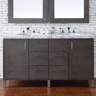 Metropolitan 60 Double Silver Oak Bathroom Vanity Set