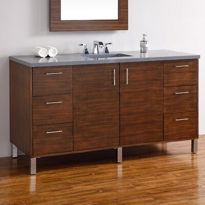 Cordie 60 Single American Walnut Wood Base Bathroom Vanity Set
