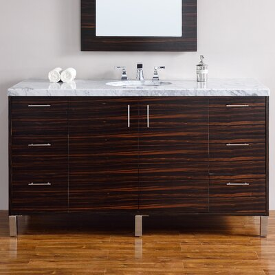 Cordie 60 Single Macassar Ebony Marble Top Bathroom Vanity Set