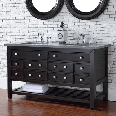 Kramer Traditional 60 Double Cerused Espresso Oak Wood Base Bathroom Vanity Set
