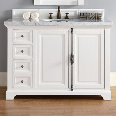 Belhaven 48 Single Cottage White Wood Base Bathroom Vanity Set Top Thickness: 2cm