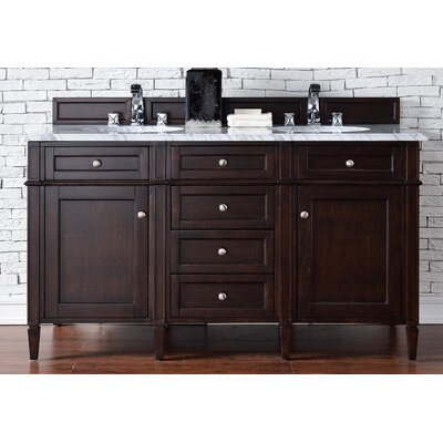 Brittany 60 Double Burnished Mahogany Bathroom Vanity Set Top Thickness: 2cm