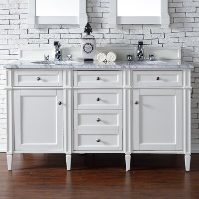Brittany 60 Double Bathroom Vanity Base Base Finish: Cottage White
