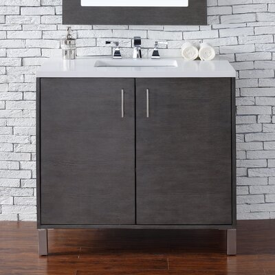 Cordie 36 Single Silver Oak Birch Base Bathroom Vanity Set