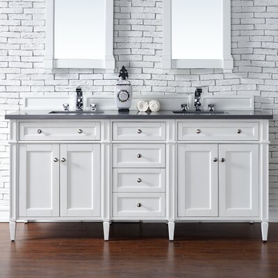 Brittany 72 Double Bathroom Vanity Base Base Finish: Cottage White