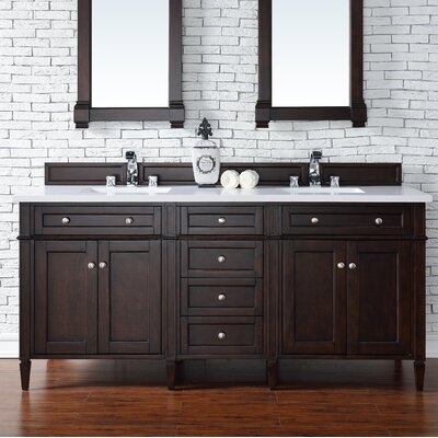 Brittany 72 Double Bathroom Vanity Base Base Finish: Burnished Mahogany