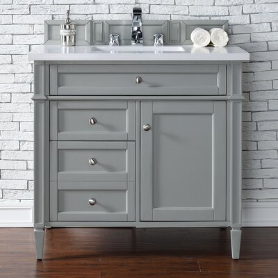 Deleon 36 Single Urban Gray Wood Base Bathroom Vanity Set