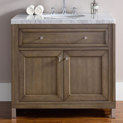 Valladares 36 Single White Washed Walnut Solid Wood Base Bathroom Vanity Set