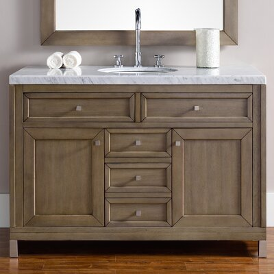 Valladares 48 Single White Washed Walnut Metal Legs Bathroom Vanity Set
