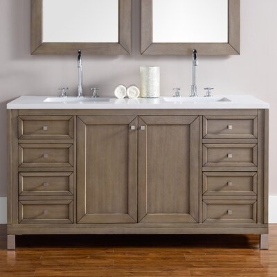 Chicago 60 Double White Washed Walnut Bathroom Vanity Set