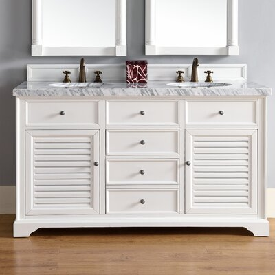 Belfield 60 Double Cottage White Stone Top Bathroom Vanity Set