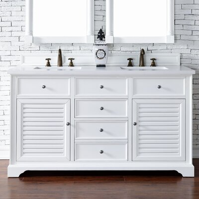 Belfield 60 Double Cottage White Wood Base Bathroom Vanity Set