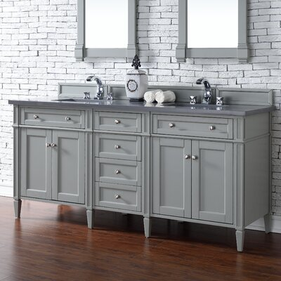 Deleon Traditional 72 Double Urban Gray Stone Top Bathroom Vanity Set