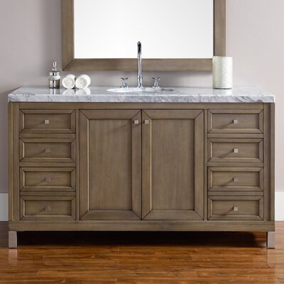Chicago 60 Single White Washed Walnut Bathroom Vanity Set