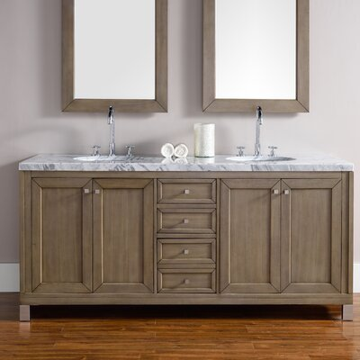 Chicago 72 Double White Washed Walnut Bathroom Vanity Set