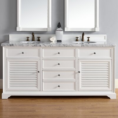 Savannah 72 Double Cottage White Bathroom Vanity Set Top Thickness: 4cm