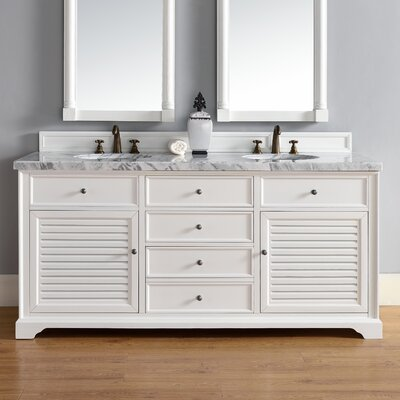 Belfield 72 Double Rectangular Sink Cottage White Bathroom Vanity Set Top Thickness: 4cm