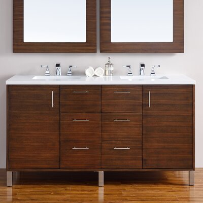 Cordie 60 Double American Walnut Birch Base Bathroom Vanity Set