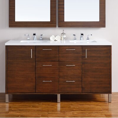 Cordie 60 Double American Walnut Wood Base Bathroom Vanity Set