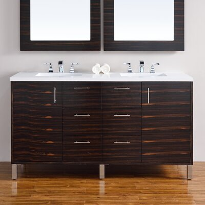 Cordie 60 Double Macassar Ebony Quartz Top Bathroom Vanity Set