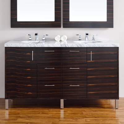 Cordie 60 Double Macassar Ebony Marble Top Bathroom Vanity Set