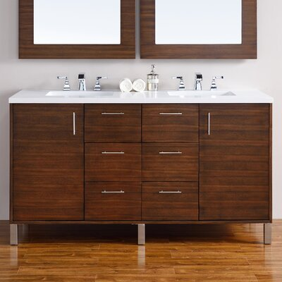 Cordie Modern 60 Double American Walnut Bathroom Vanity Set