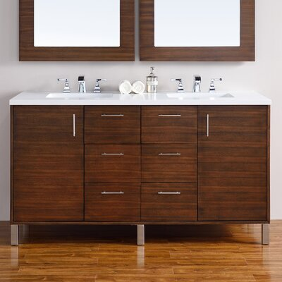 Metropolitan 60 Double American Walnut Bathroom Vanity Set