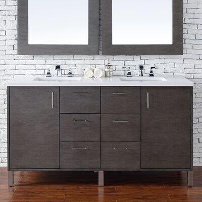 Cordie Modern 60 Double Silver Oak Bathroom Vanity Set