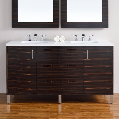 Cordie Modern 60 Double Macassar Ebony Bathroom Vanity Set