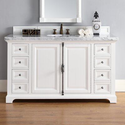Belhaven 60 Single Cottage White Bathroom Vanity Set Top Thickness: 2cm