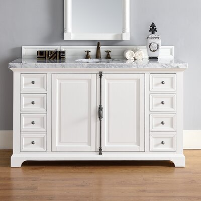 Belhaven 60 Single Undermount Sink Cottage White Bathroom Vanity Set Top Thickness: 2cm