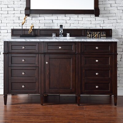 Deleon 60 Single Burnished Mahogany Stone Top Bathroom Vanity Set Top Thickness: 2cm