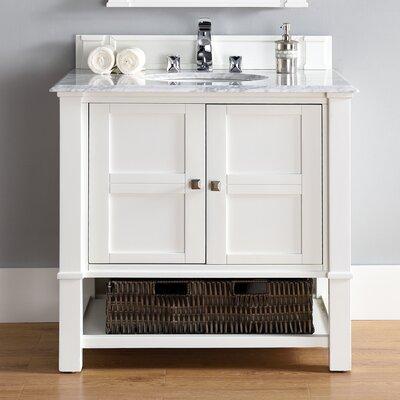 Westminster Traditional 36 Single Cottage White Wood Base Bathroom Vanity Set